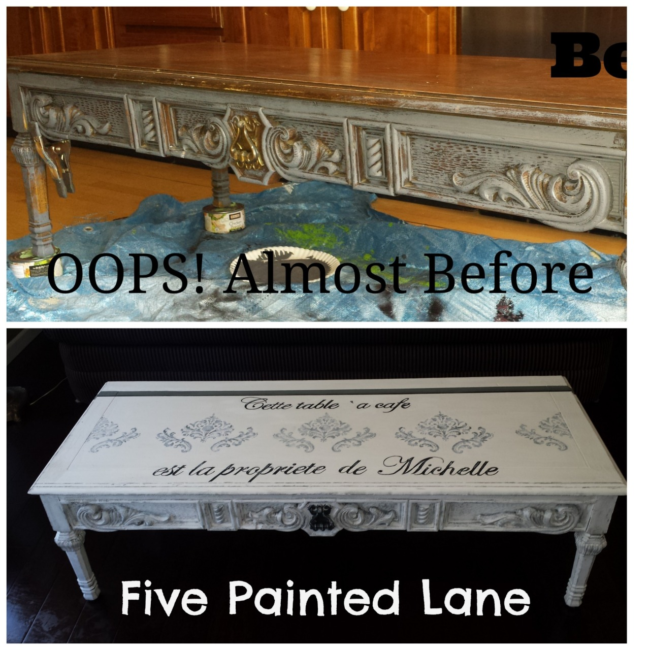 French Linen Chalk Paint Coffee Table: A Thrift Store Coffee Table Gets A French Look With Chalk